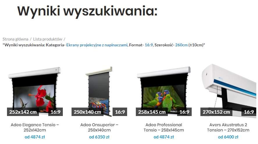 Ekran projekcyjny - kategorie