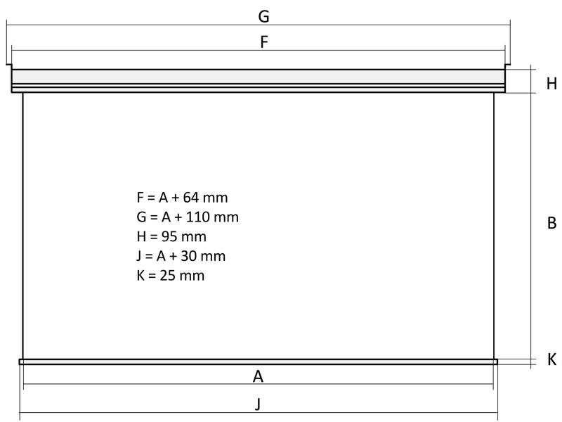 Kauber White Label - wymiary ekranu